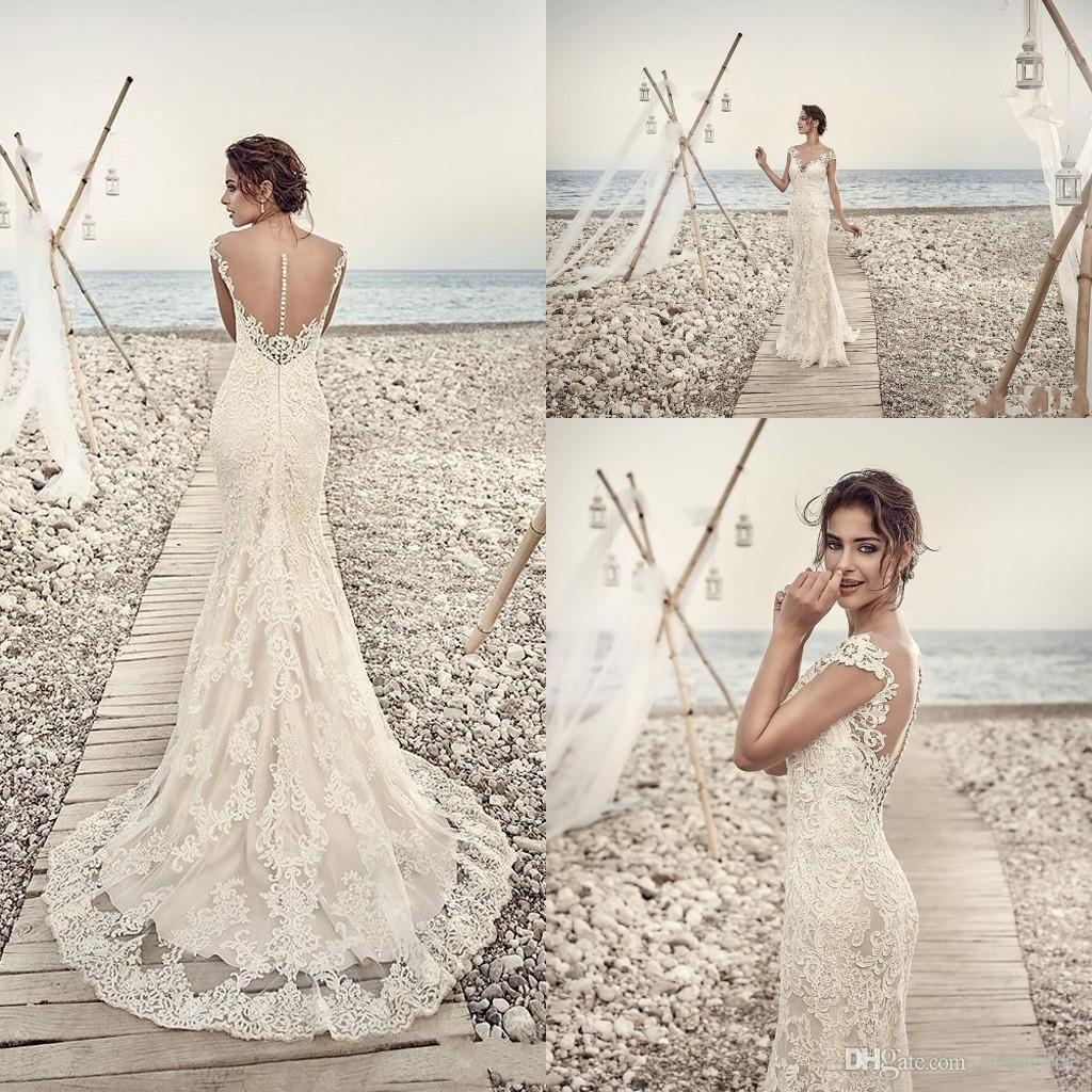 c0039d34d3d22 2019 Modern Arabic Mermaid Sheath Wedding Dresses Illusion Cap Sleeves  Court Train Lace Beach Plus Size Sheer Back Formal Bridal Gowns Bridal Gown  Designers ...