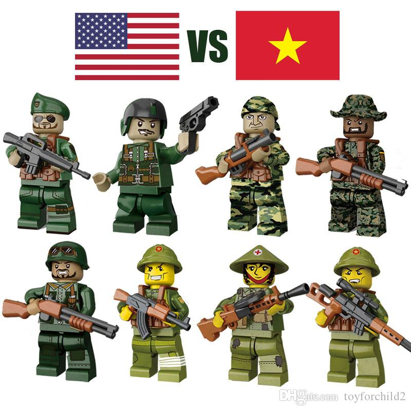 II Guerra Mundial WW2 O Vietnam War Against EUA Exército Mini Militar Toy Figura Com Arma Building Blocks do tijolo por Kid Boy