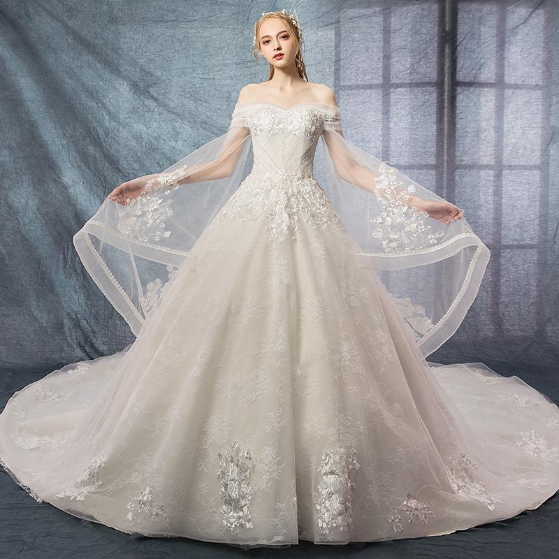 97fbd480f1b3 Shoulder Heavy Work Wedding Dress 2018 New Bride Long Tail Luxury Princess  Dream Slim Long Sleeved Wedding Dresses Modern Wedding Dresses From  Haianxiang