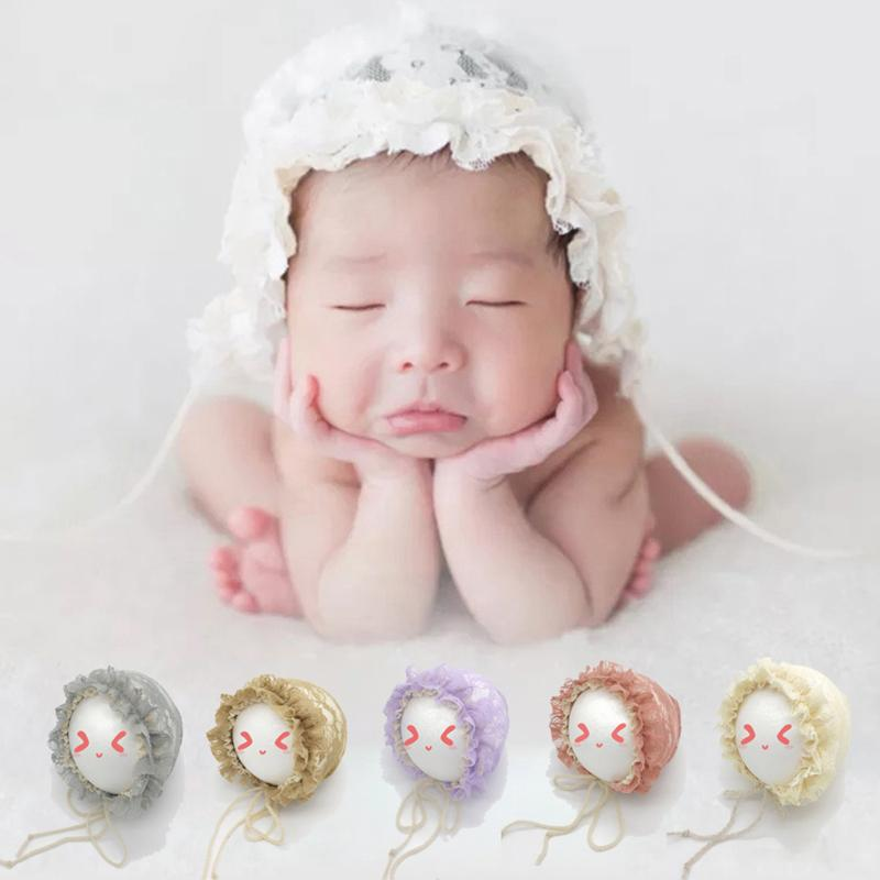 Spring Cap Newborn Baby Summer Sweet Hat Princess Lace Infant Girl Beanie Ruffles Lace-up Baby Photo Props Accessories