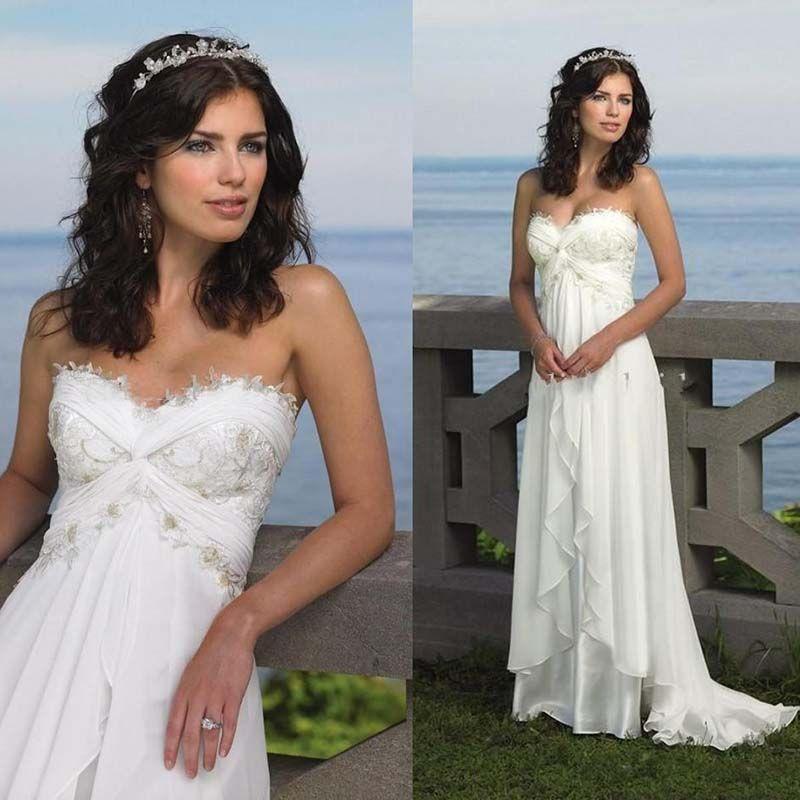 2785ddd59 Discount Beach Wedding Bride Dresses 2019 Sexy Empire Sweetheart Ruffles  Appliques Chiffon Low Price Bridal Dress Hot Sale Summer Casual Bridal Gowns  ...