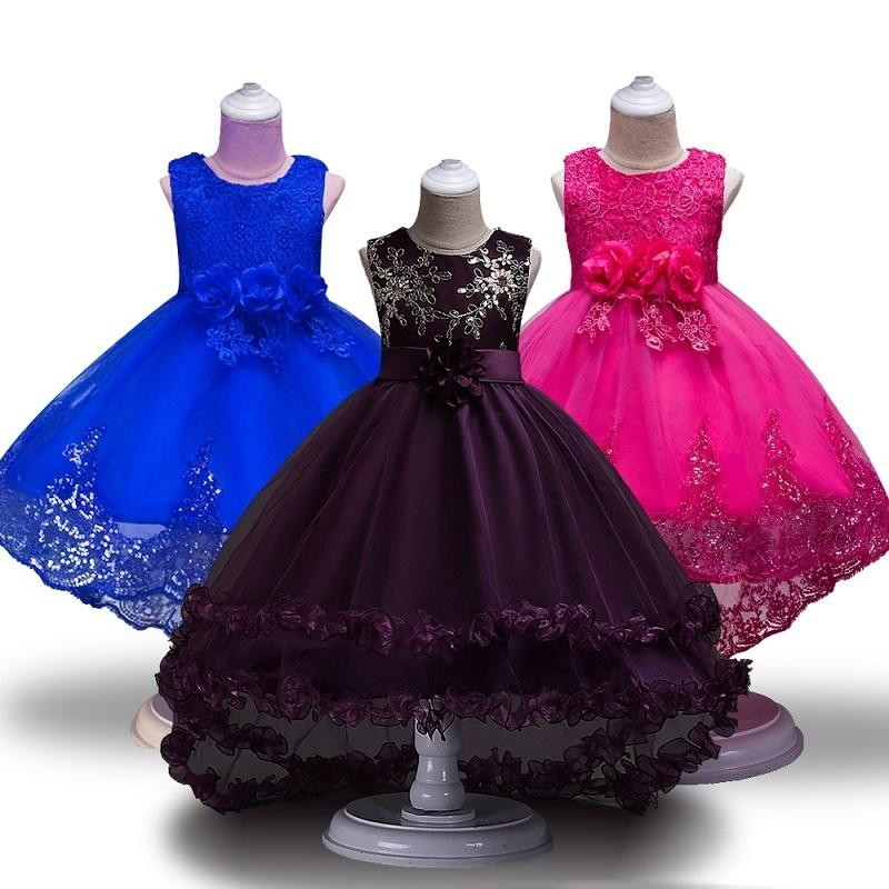 c93fb3876bbfd Yüksek Kaliteli Dantel Vestido Kolsuz Prenses Çocuk Çiçek Kız Elbise ...