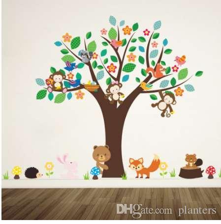 Adesivi Da Parete Per Bambini.Foresta Animali Scimmia Gioca Sotto Fiore Albero Adesivo Da Parete Per Bambini Bambino Vivaio Camera Decorazioni Decorazioni Casa Decalcomania