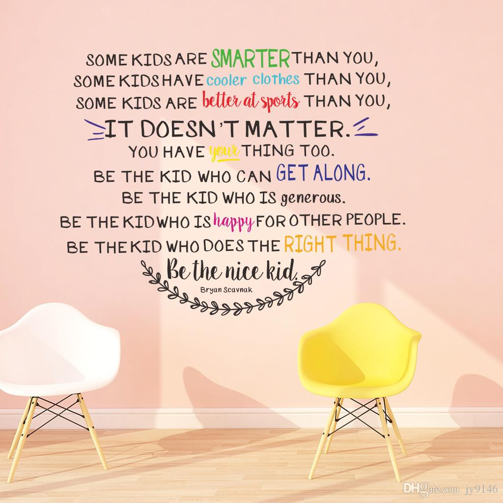 Be The Nice Kid Wall Decal Quotes For Kids Room And Nursery Decoration DIY  Vinyl Self Adhesive Classroom Wall Decorative Sticker Murals Room Wall  Decals ...