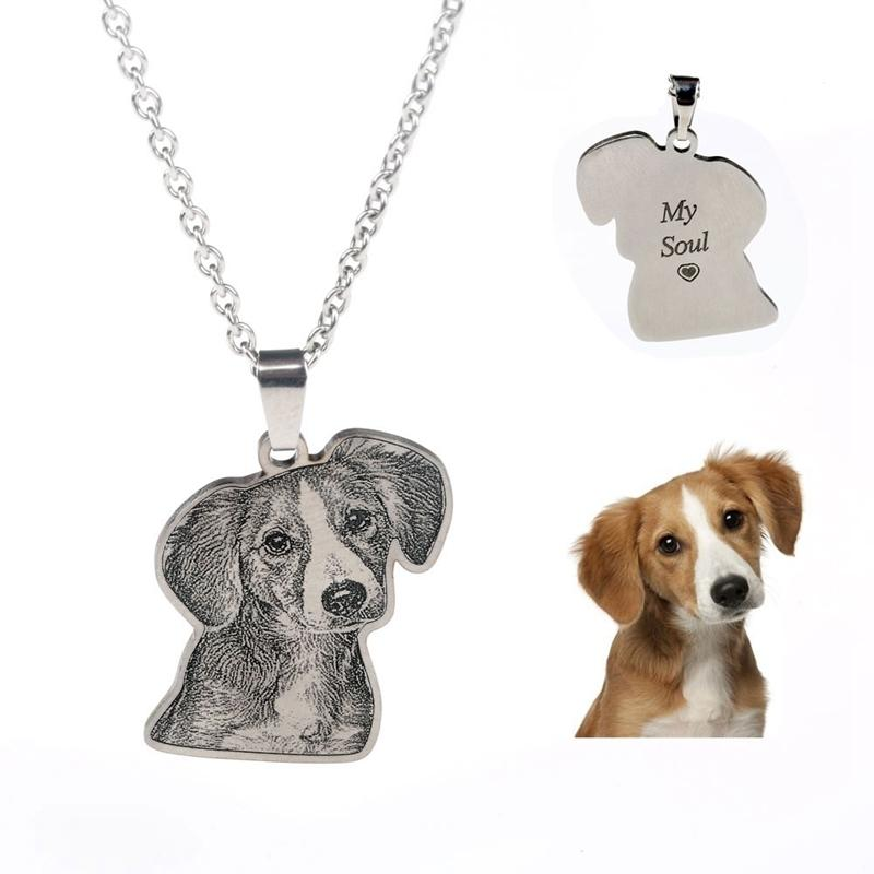 4083fb1e64527 Custom Personalized Pet/cat/dog Photo Necklace Pendants Stainless Steel  Engrave Name Necklace Women Men Jewelry Memorial Gift Q190413