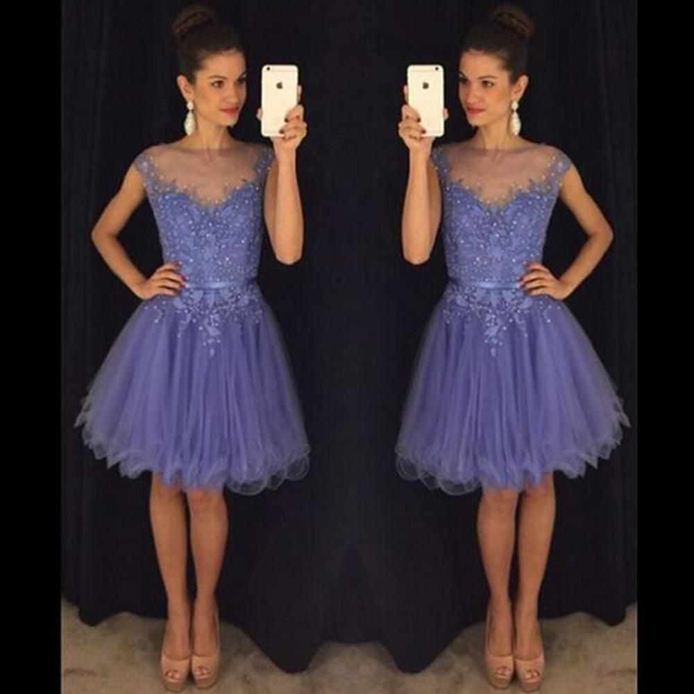 2018 Lavender Short Prom Dresses Appliques Beading Formal Evening Dresses Sheer Neck Above Knee Tulle Sexy Party Dress Gowns Ruffles Sashes