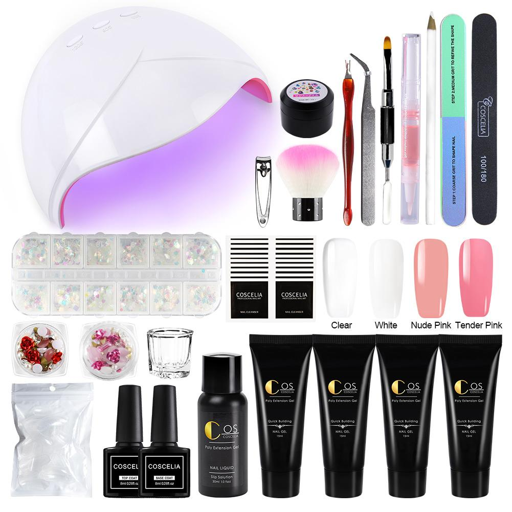 COSCELIA 4 pçs / set Poly Extention Gel Kits Nail Art Francês Prego Com Lâmpada UV LED Conjunto Completo Manicure UV Gel Polonês Kit