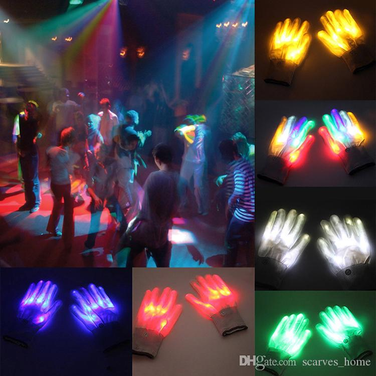 Colorful LED Glow Gloves Rave Light Finger Lighting Flashing Gloves Unisex Skeleton Glove Luminous Party Supplies