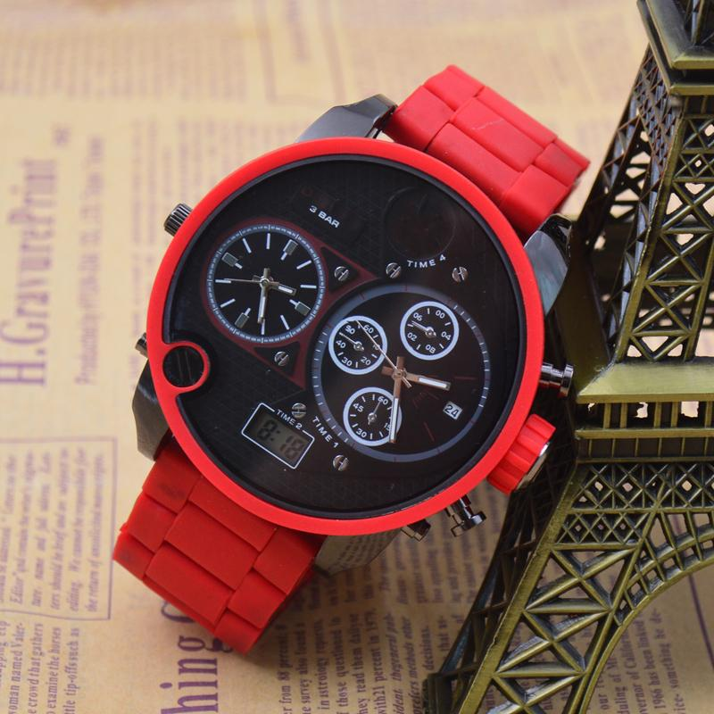 Extravagant Brand Wrist Watch Male Movement Quartz Watch LED Display Red Silica Gel Band Large Dial Double Display