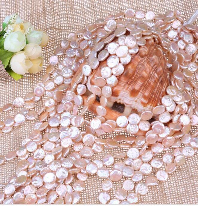 FREE SHIPPING Semi manufactured 12-13MM Coin Beads, freshwater pearl necklace, wholesale outlets.bead