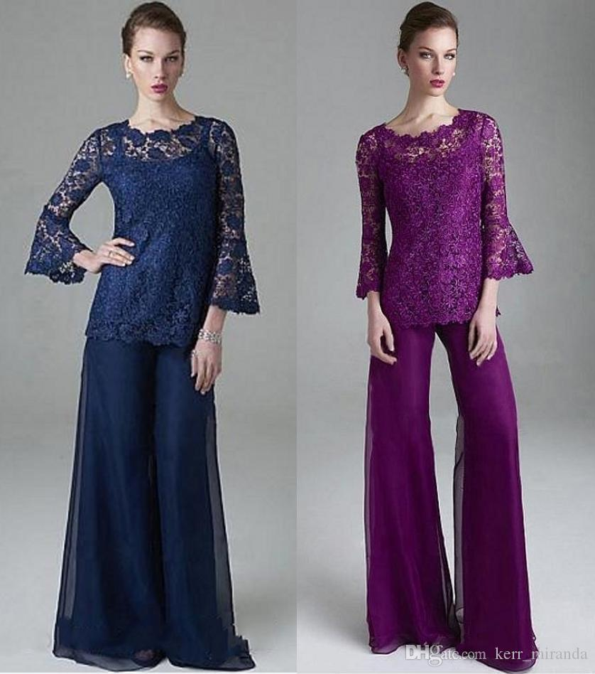 Plus Size Classy Purple Lace Mother Of The Bride Pant Suits Sheer Jewel Neck Long Sleeves Wedding Guest Dress Chiffon Mothers Groom Dresses
