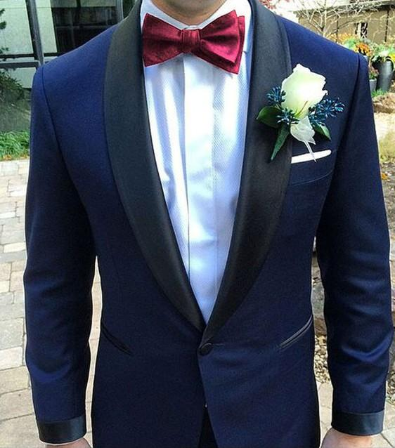 2020 Navy Blue Men Suits For Wedding Black Shawl Lapel Formal Tuxedos Groom Party Prom Male Blazers Costume Homme Mariage
