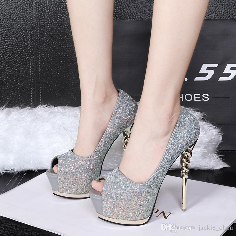 a2c96d11302b Sexy2019 Pop Ultra High Platform 14cm Toe Sequins Stiletto Heel Wedding  Shoes 1368-1 Online with  65.25 Piece on Bellebeast s Store