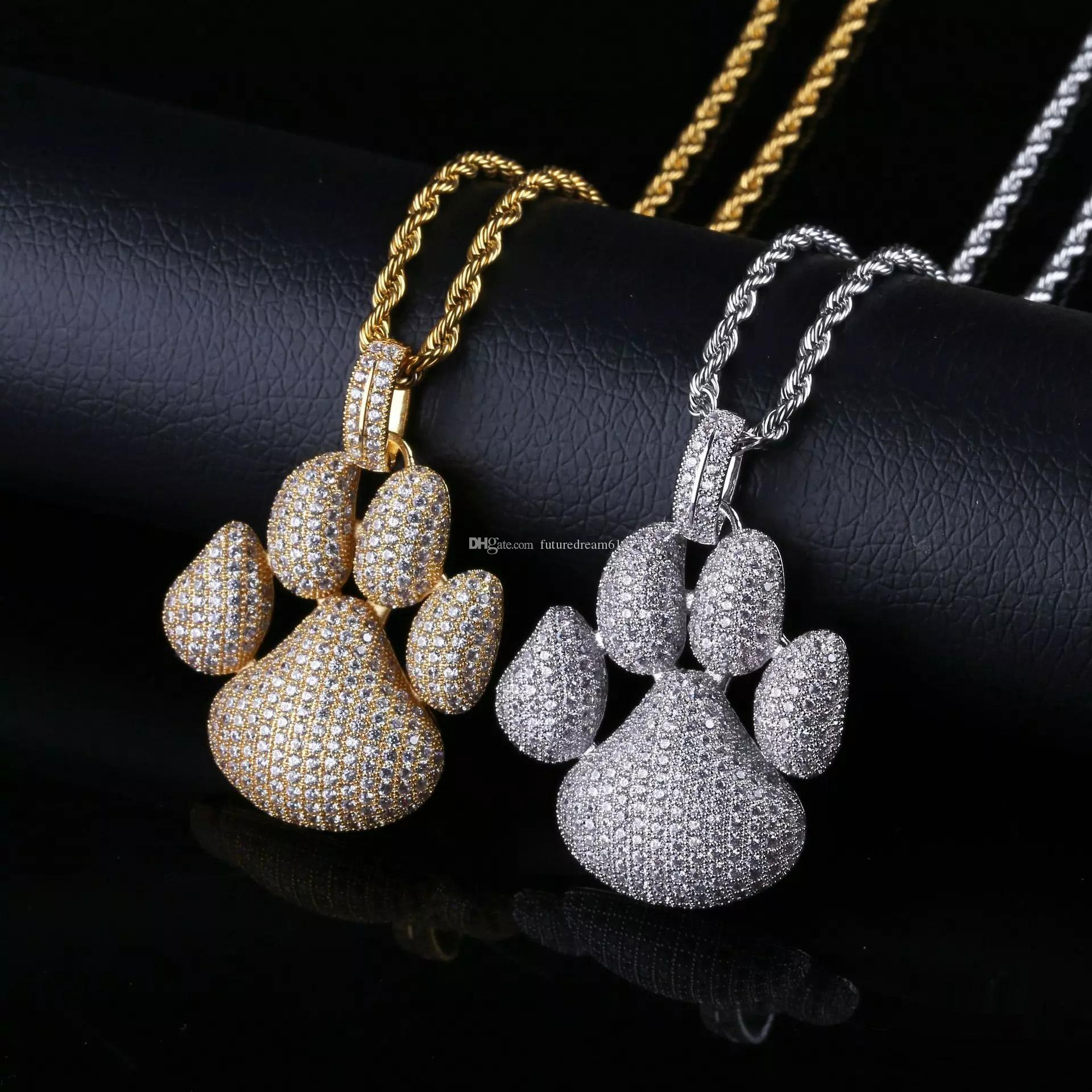 Hip Hop Shiny Paw Dog Cat Claw Necklaces Cubic Zircon Gold Silver Color Pendants For Man Women