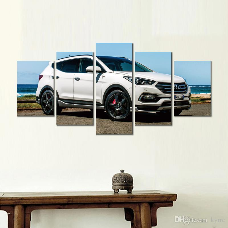 Canvas Santa Fe >> Canvas Printed Painting Hyundai Santa Fe Crossover 5 Sets Wall Pictures For Living Room