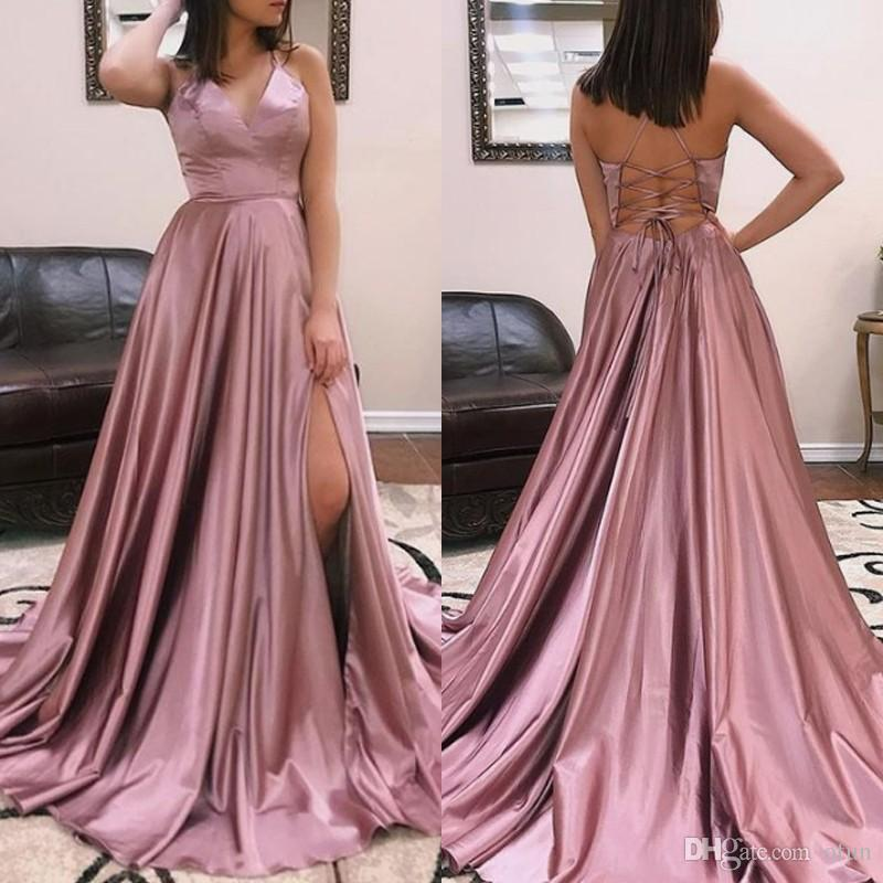 Cheap V Neck Sweep Train Lace Up Back Pink Evening Dress Sexy Spaghetti  Straps Simple Satin Prom Dress With Side Slit Evening Dresses Dublin Evening  Short ... b4330cb3e