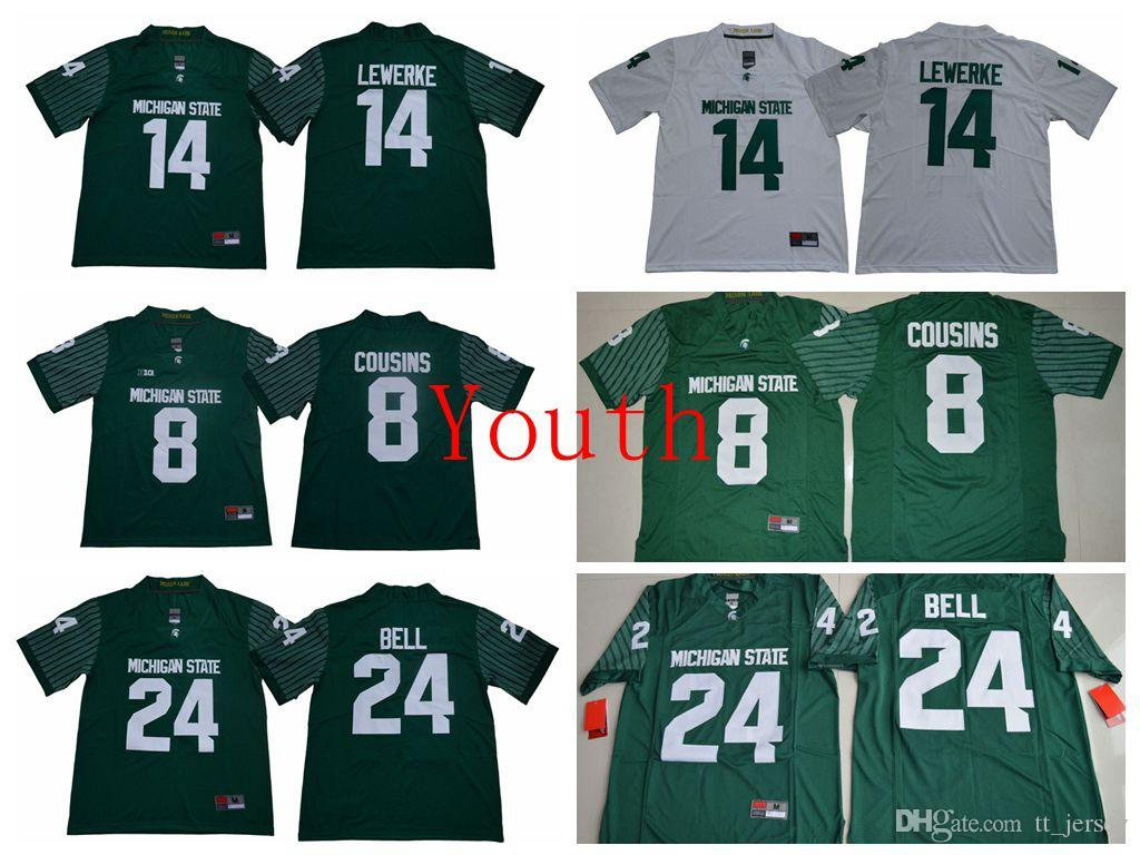 new product 0b8d1 aa76d NCAA Youth kids Jersey Michigan State Spartans 14 Brian Lewerke 8 Kirk  Cousins 24 Le Veon Bell Football Jerseys Cash Spot On Sale