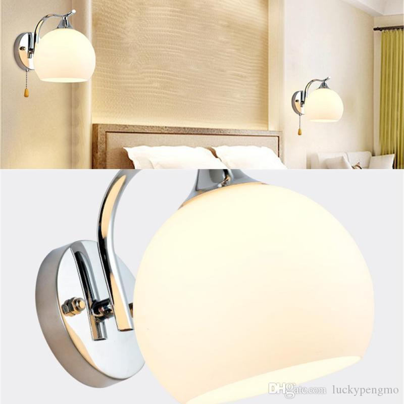 to usa modern led 9w sconce glass ball metal living room bedroom bedside lamp wall lights modern led wall lamp glass wall light hotel lamp bathroom mirror