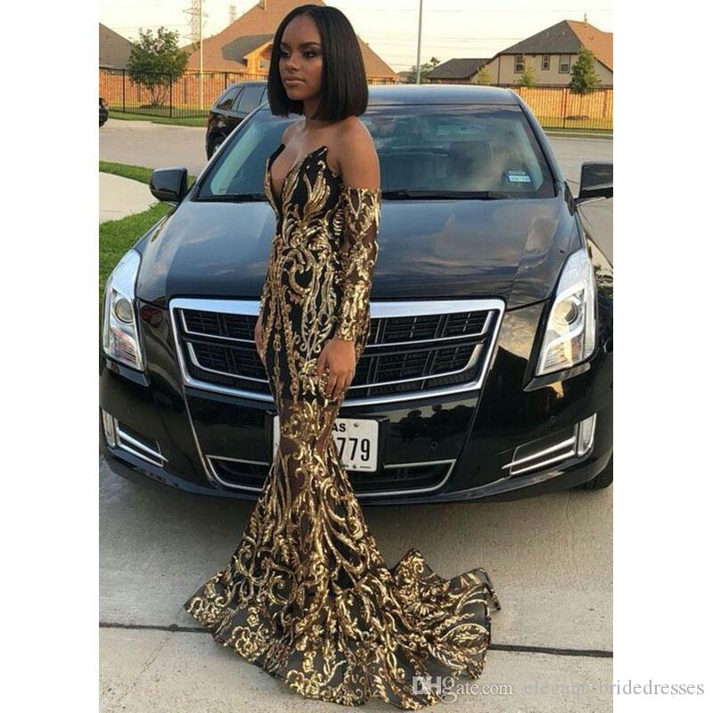 2019 Sexy Gold Mermaid Prom Dresses New Long Sleeve Sparkly Sequined Black Girl V Neck Sweep Strain Formal Evening Dress Party Gowns
