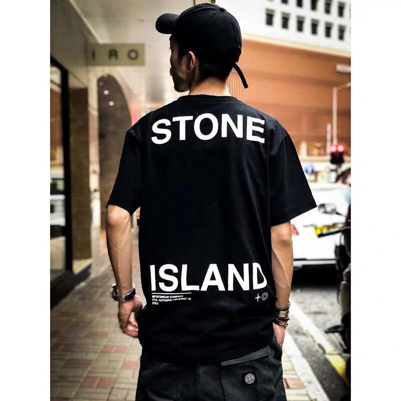 stone t-shirt luxury mens designer t shirts summer breathable short sleeved compass back letter printing T-shirt Italian famous brand shirt