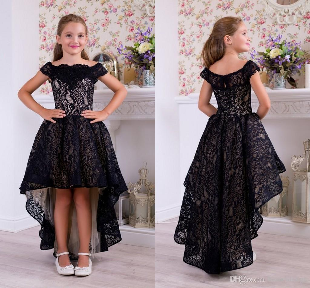 a963f17c10bb Hi Lo Off Shoulder Girls Pageant Dresses Black Lace Short Sleeve First Holy  Communion Dress Flower Girl Dresses For Wedding Cheap 2019 Gowns Designs  Kids ...
