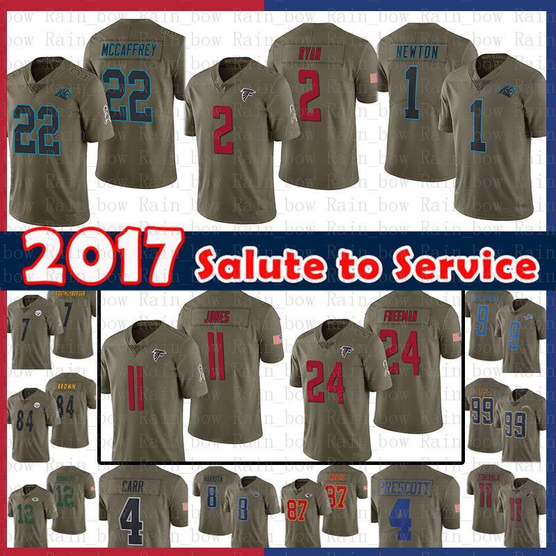 14.99 22 Christian McCaffrey 1 Cam Newton 2 Matt Ryan Atlanta Falcons Jersey  11 Julio Jones Freeman Carolina Panthers 2017 Salute To Service UK 2019  From ... 9f948cf9c
