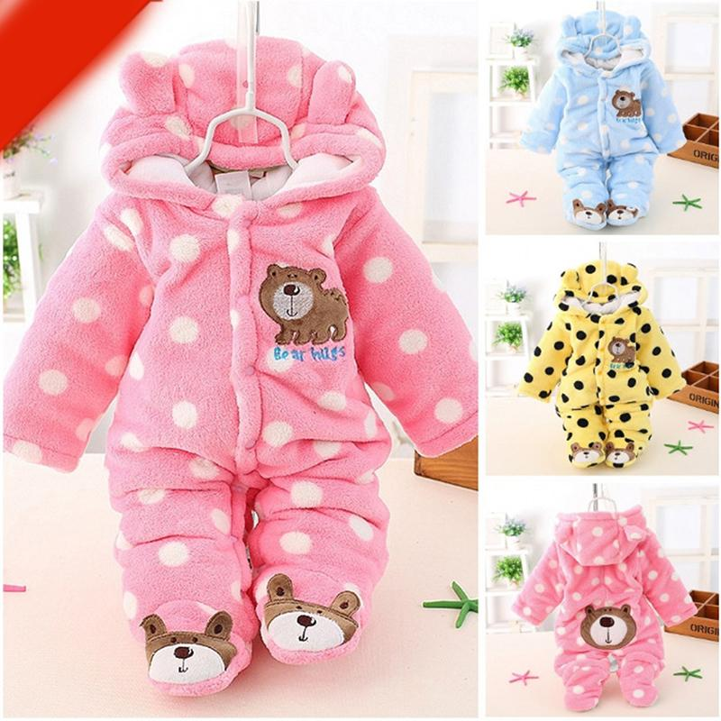 85f8ee8850f17 New Baby Winter Romper Cotton Padded Thick Newborn Baby Girl Warm Jumpsuit  Autumn Fashion Baby s Wear Kid Climb Clothes Sa822256 J190514
