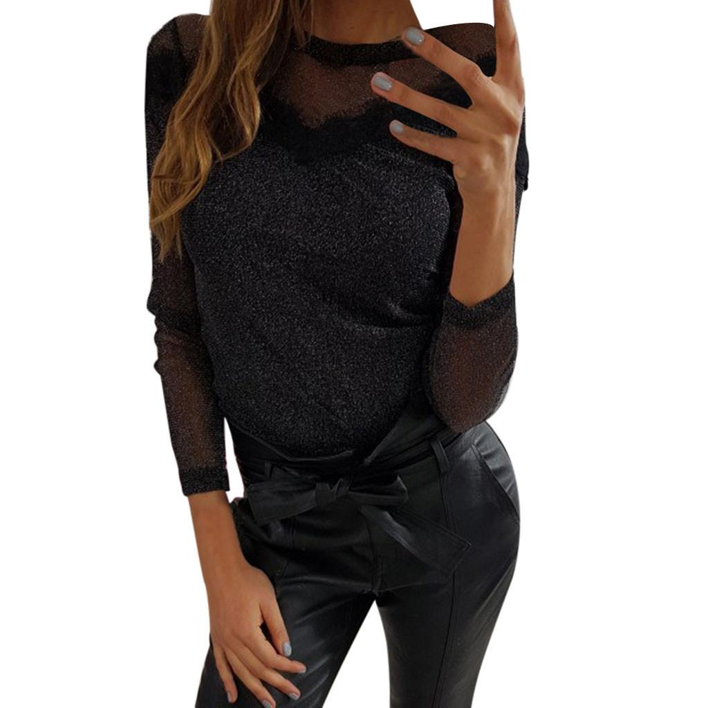 b1660195f4898b 2019 Womens Tops And Blouses Black Solid Long Sleeve Summer Blouse Women  Lace Seethrough 2019 Women Tops Sexy Ladies Top And Blouses From Sacallion