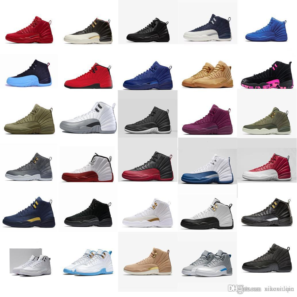 buy online 3f870 356a9 Cheap retro 12s basketball shoes j12 red black nylon CNY French Blue  University white melo youth kids jumpman xii sneakers boots with box