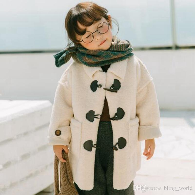 a15ee1f284dd Horn Button Coat Kids Boys Winter Coats Girls Long Jacket Fashion ...