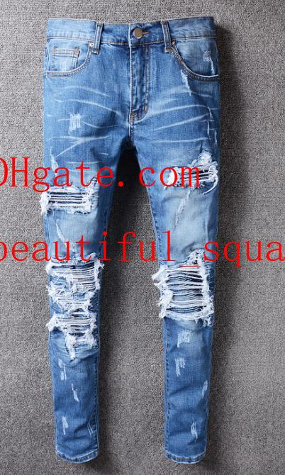 2019 skinny jeans men ripped holes jeans Motorcycle Biker Denim pants Men Brand fashion Designer Hip Hop Mens jeans pour hommes AB-7