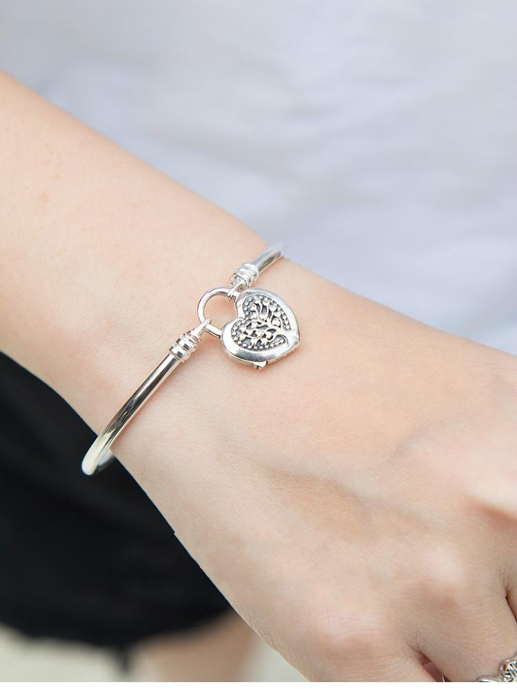 Mother Day 100% 925 Sterling Silver Pan Bracelet Limited Edition Flourishing Heart Padlock Bangle Charm DIY Women Jewelry
