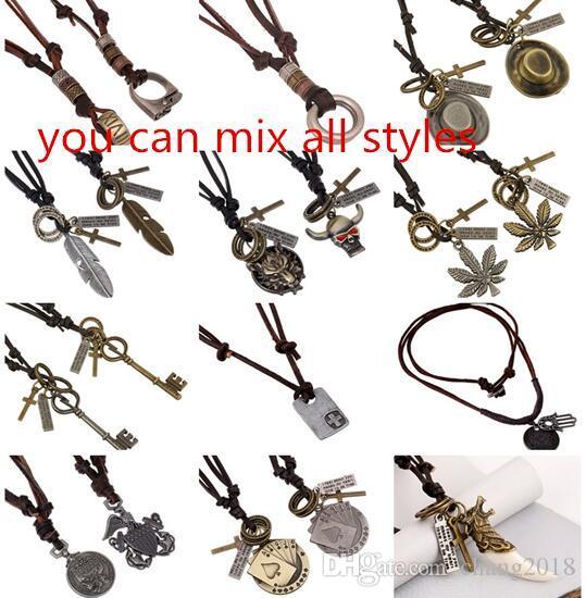 9414c9c85579 Compre 19 Estilos Collar De Cuero Hecho A Mano Bolo Tie Para Hombres ...