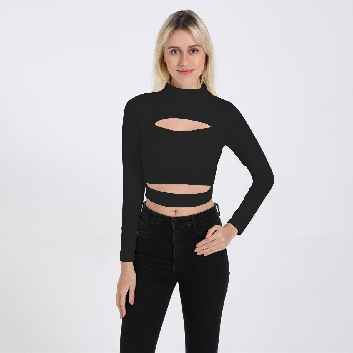 14907fc532df93 2019 Sexy Long Sleeve Crop Top Shirt High Collar Hollow Bare Midriff Tops T  Shirt Blouse Women Clothes Black White Drop Shipping From Cndream