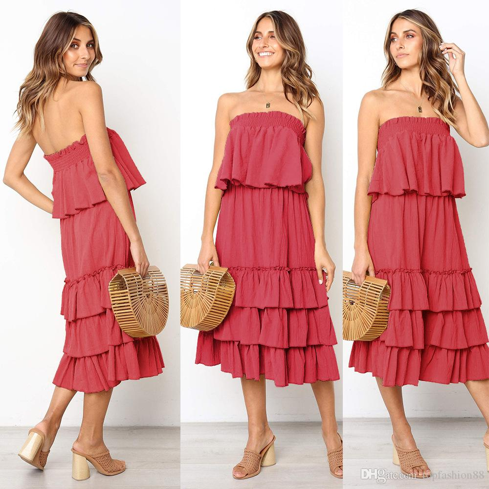 4fa0f91c054 2019 Womens Sexy Strapless Tops Cake Skirts Sets For Female Summer Fashion  Sleeveless Chiffon Two Piece Dresses Suits Outfits From Topfashion88