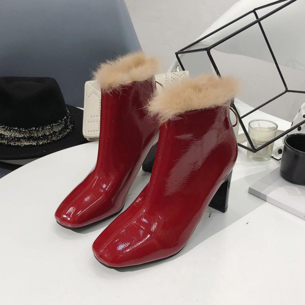 Compre Zapatos Mujer Tacon Moda Para Mujer Punta Cuadrada Tacones Altos  Tacones Cuadrados Zapatos Botas Cortas Botines Mujer Alta   91 A  30.96 Del  ... 83608f0ab036