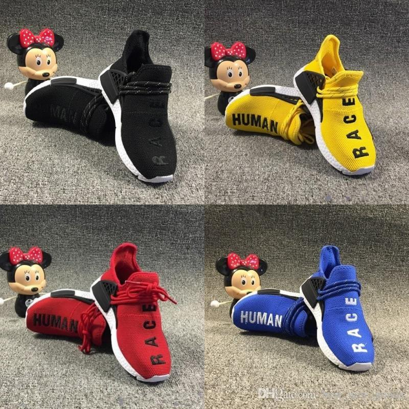 brand new 69733 601b6 Pharrell Williams Infant Human Race Kids running shoes Yellow toddlers  athletic SPORT Trainers Children boys girls sneakers Core Black White