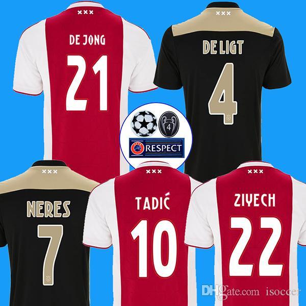 dd80780d604e8 18 19 Ajax Soccer Jersey DE JONG DE LIGT Camiseta De Fútbol VAN DE BEEK  NERES 2018 2019 Ajax Amsterdam Camisa De Futebol TADIC ZIYECH Maillot De  Foot Por ...