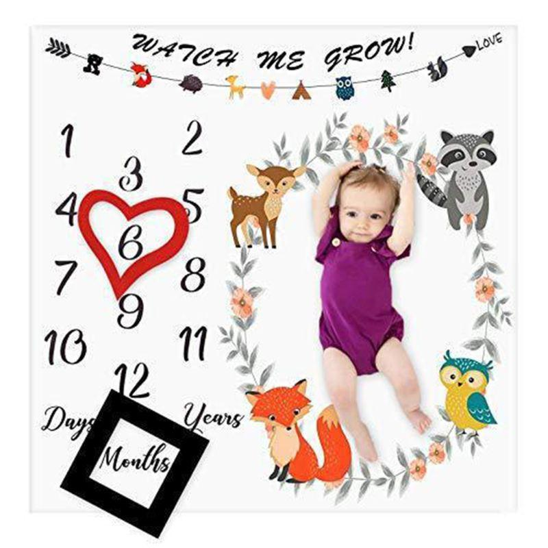 Newborn Baby Milestone Number Cute Animals Pattern Mat Blanket Photography Background Backdrop Cloth