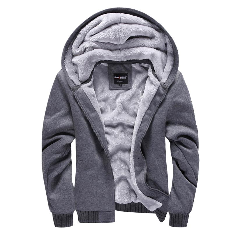 New Casual Hoodies Sweateshirts Men Velvet Zipper Warm Poleron Hombre Fashion Loose Parkas Streetwear Thick Solid Hoodie Men Y191029