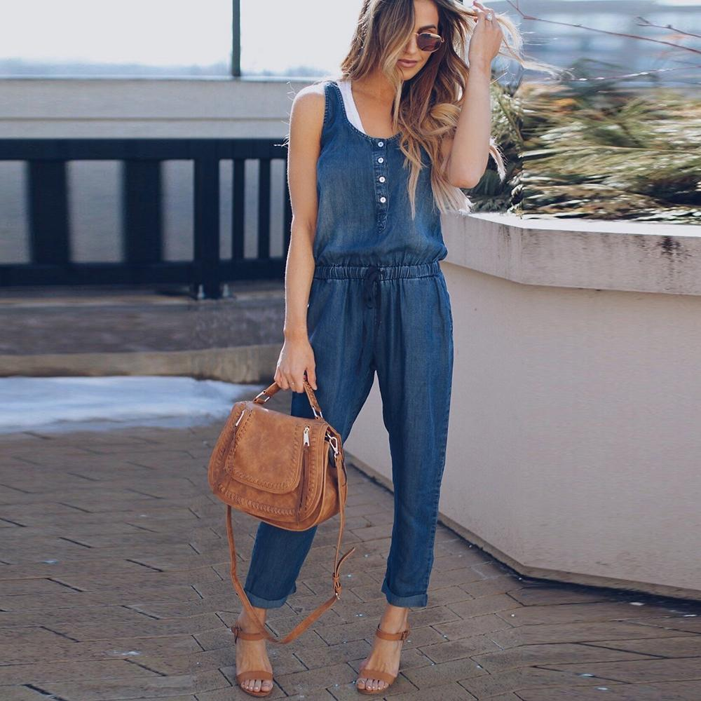 4906f31fca73 Casual Sleeveless Button Bodycon Long Jeans Jumpsuit Summer Women ...
