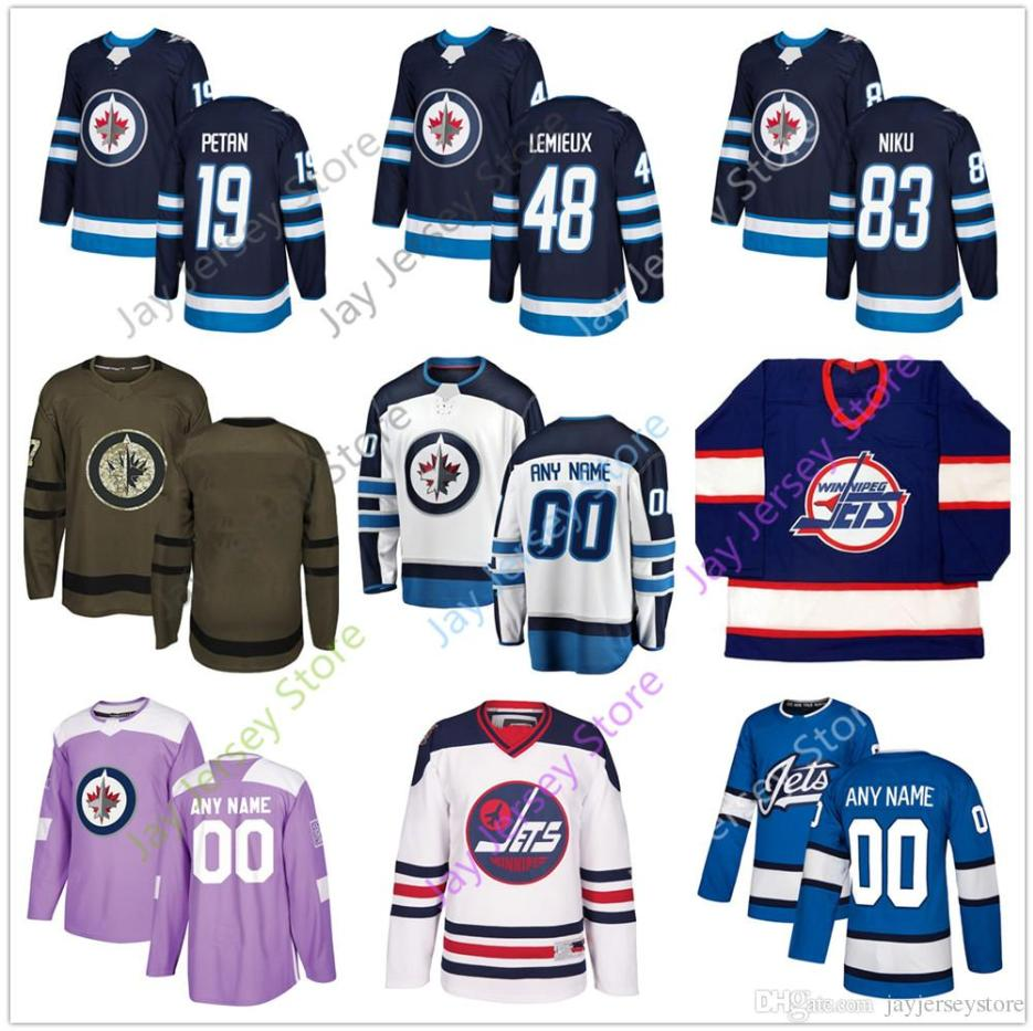 998b7657319 2019 Nic Petan Brendan Lemieux Sami Niku Jersey 2019 Men Women Youth Winter  Classic Winnipeg Jets Branded Blue Salute To Service Cheap From  Davidjersey, ...