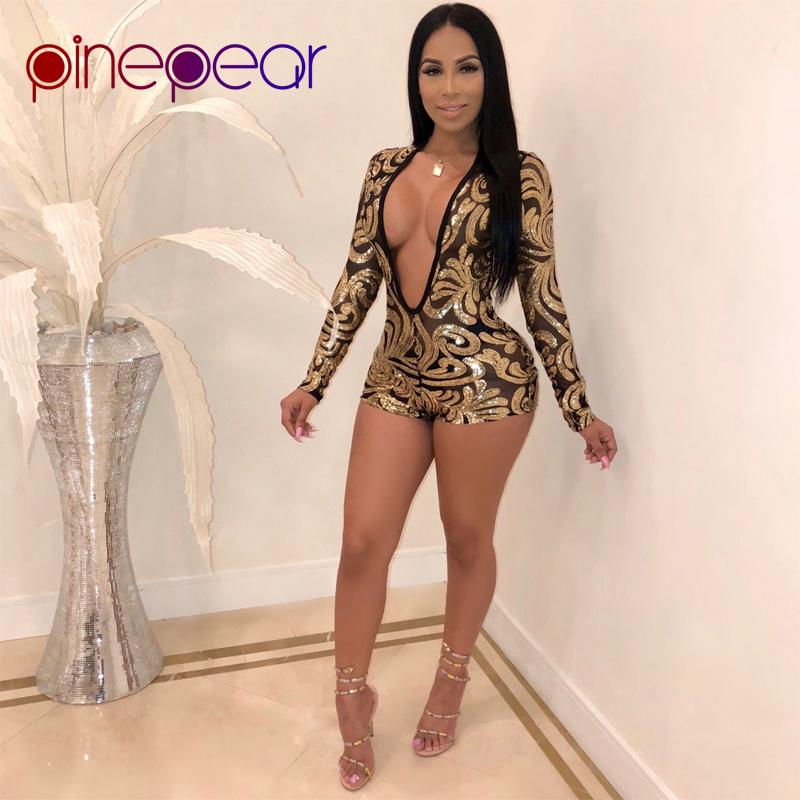 acac1de72ae7a PinePear Glitter Gold Sequin Playsuit 2019 Winter Women Sheer Mesh Long  Sleeve Deep V Neck Jumpsuit Sexy Clubwear Dropshipping