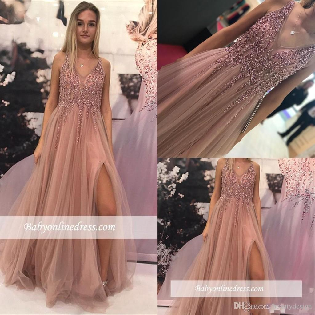 2019 Sparkly Beaded Dusty Pink Prom Dress Long A line Sleeveless Formal  Evening Party Gown Elegant Crystals Plus Size Pageant Gown BC1560