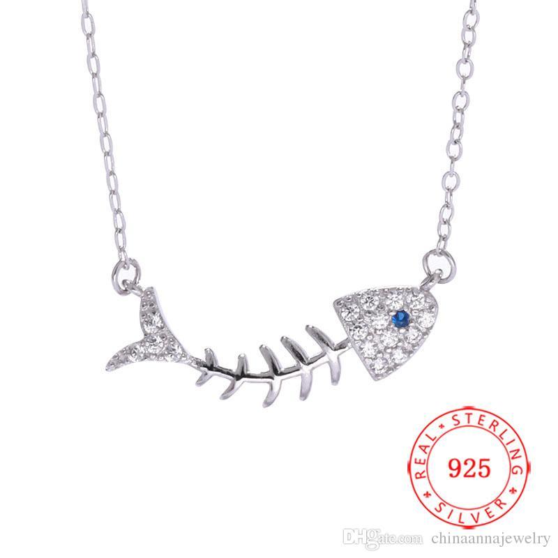 8ce38dbf2582 Moda moda 925 plata esterlina plata oro oro cristianas collares de hueso de  pescado con cristal CZ para mujeres niñas