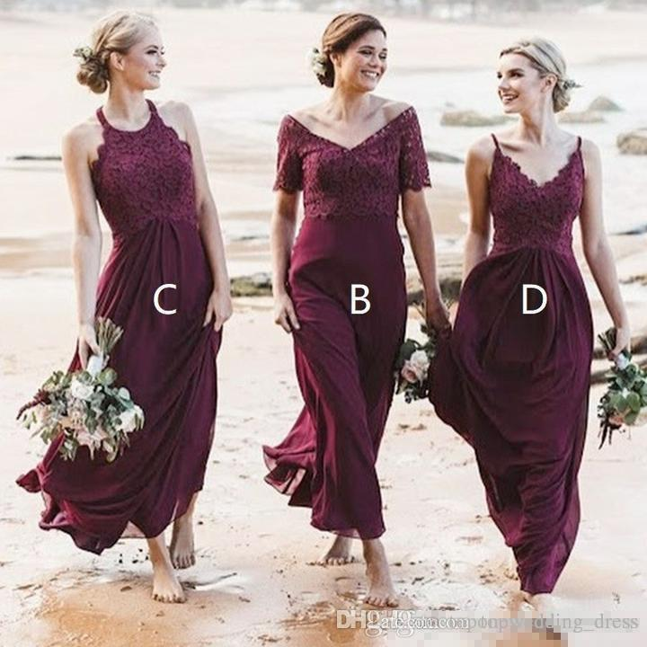 Stylish Beach Burgundy Country Bridesmaid Dresses Mix And Match
