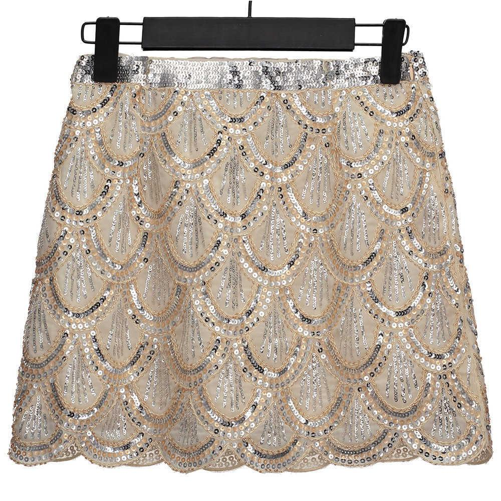 d7deb629b59eb Vintage 1920s Gatsby Flapper Costume Women Fish Scale Sequin Skirt Bead  Embellished High Waist Mini Chiffon Skirt Party Jupe Y19043002