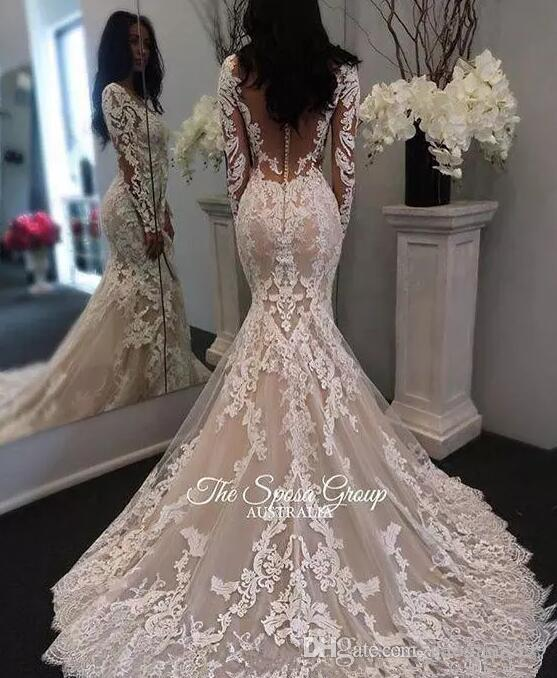New Illusion Long Sleeves Lace Mermaid Wedding Dresses Tulle Applique Court princess Wedding Bridal Gowns With Buttons custom made