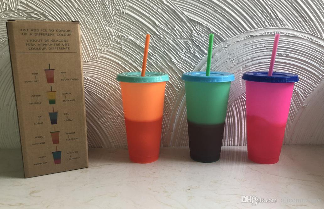 2019 New Color Change Cup Straw Cup Manufacturers Direct Sales Inspp Thermosensitive Plastic Color Change Cup To Customize LOGO Stock Spot