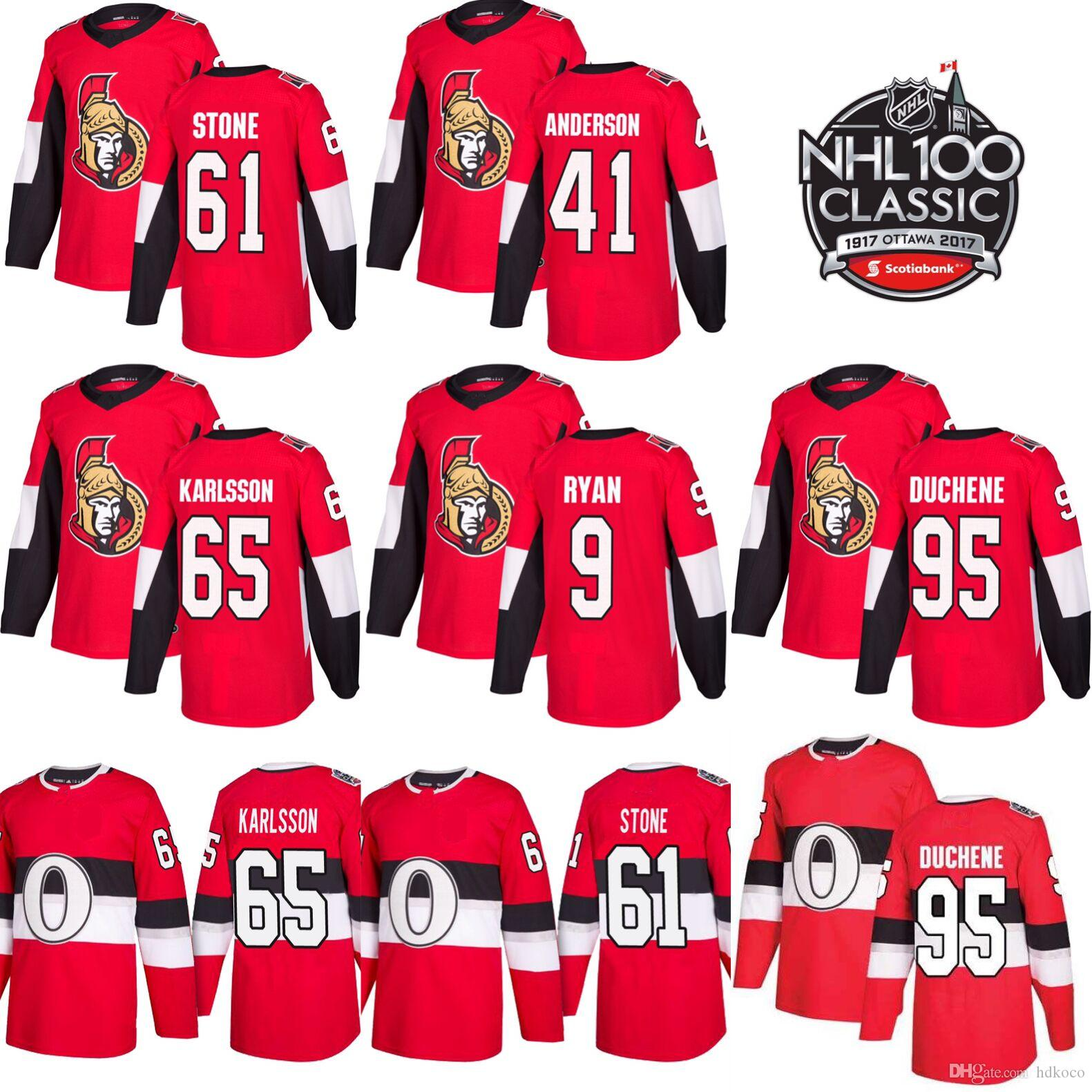 2019 Ottawa Senators New Mens 100th Classic 65 Erik Karlsson 95 Matt ... 630a91bdf